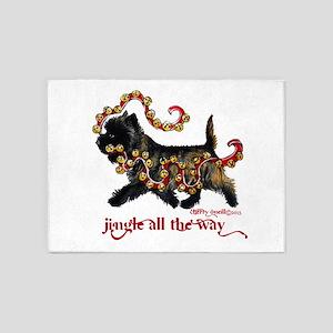 Jingle Cairn Terrier 5'x7'Area Rug