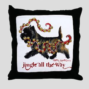 Jingle Cairn Terrier Throw Pillow