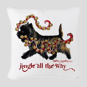 Jingle Cairn Terrier Woven Throw Pillow