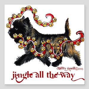 "Jingle Cairn Terrier Square Car Magnet 3"" x 3"""