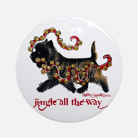 Jingle Cairn Terrier Round Ornament