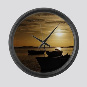 Fishing Boats in Cacela Velha Large Wall Clock