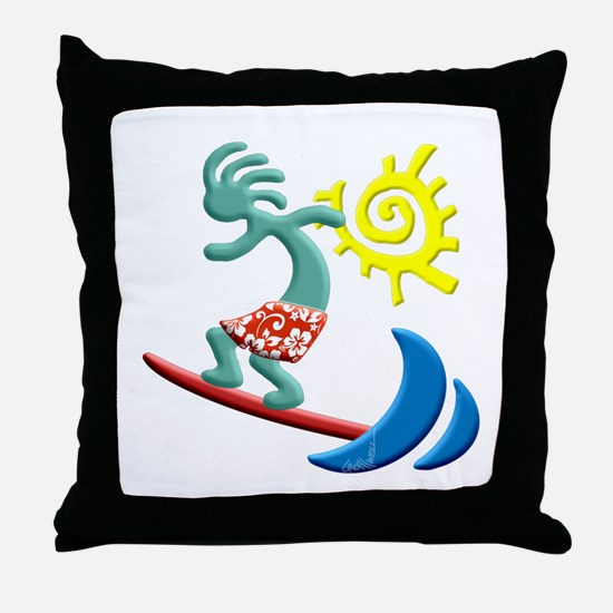 Kokopelli Surfer Throw Pillow