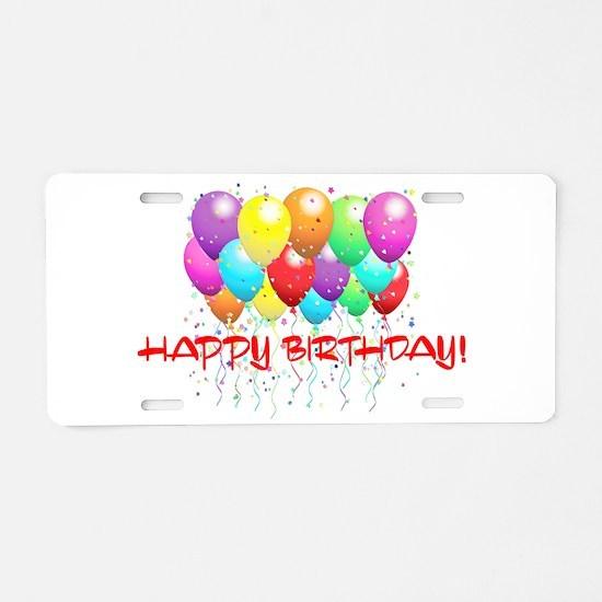HAPPY BIRTHDAY BALLOONS Aluminum License Plate