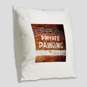 Private Parking Burlap Throw Pillow
