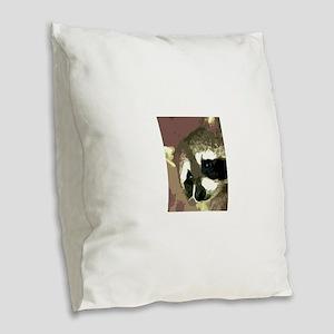 Raccoon Eyes Burlap Throw Pillow