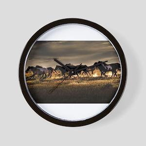 Wild Horses Running Free Wall Clock