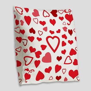 Hearts a'Plenty Burlap Throw Pillow