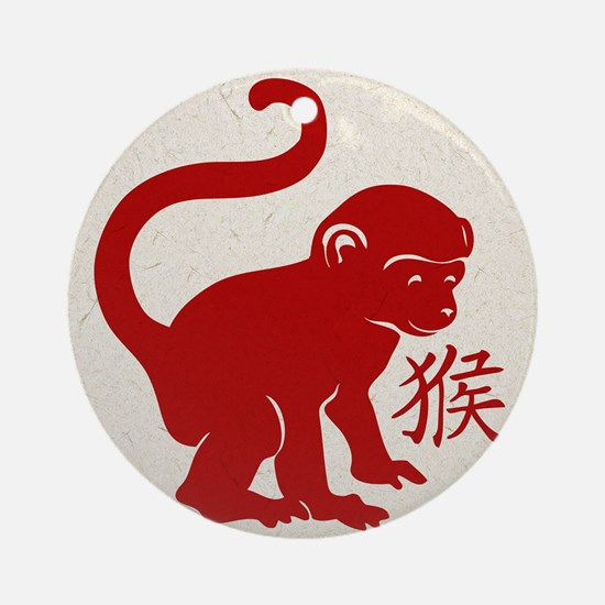Cute Year Of The Monkey Round Ornament