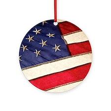 Patriotic American Flag Round Ornament
