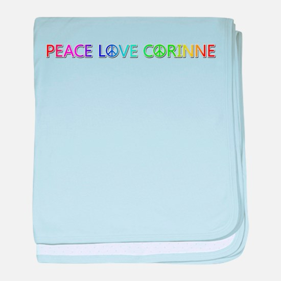 Peace Love Corinne baby blanket