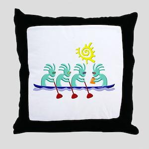 Kokopelli Rowing Throw Pillow