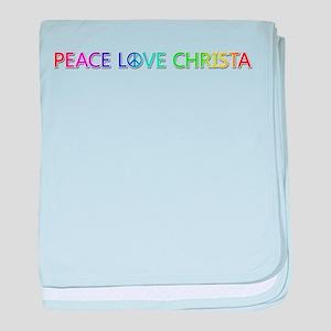 Peace Love Christa baby blanket