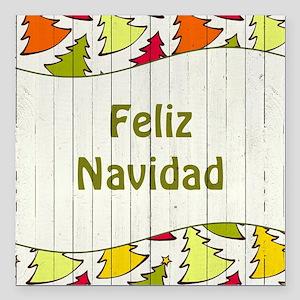 "Feliz Navidad Square Car Magnet 3"" x 3"""