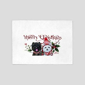 Westie Cairn Christmas 5'x7'Area Rug