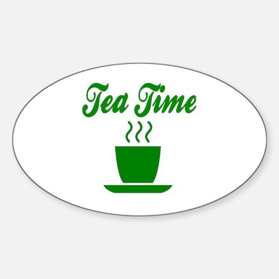 Cute Tea time Sticker (Oval)