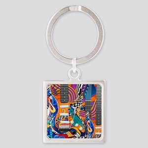 Pop Art Guitar Art Music Art Keychains