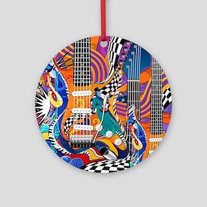 Pop Art Guitar Art Music Art Round Ornament