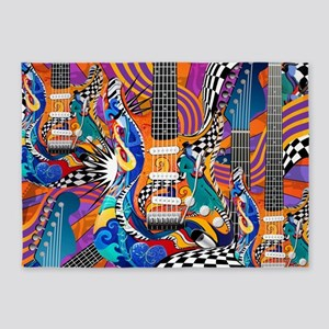 Guitar Pop Art Colorful Music Art 5'x7'Area Rug