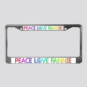 Peace Love Fannie License Plate Frame