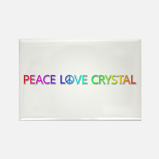 Peace Love Crystal Rectangle Magnet