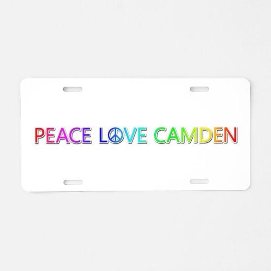 Peace Love Camden Aluminum License Plate