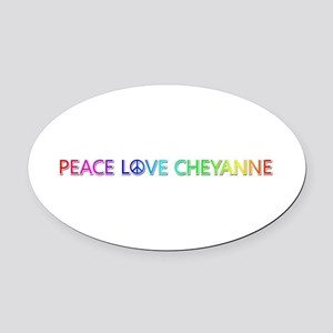 Peace Love Cheyanne Oval Car Magnet
