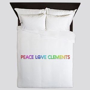 Peace Love Clements Queen Duvet