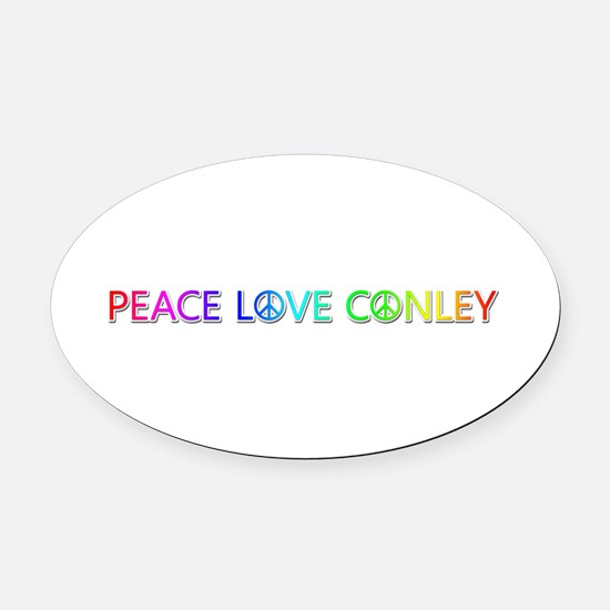 Peace Love Conley Oval Car Magnet