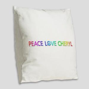 Peace Love Cheryl Burlap Throw Pillow