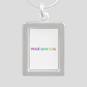 Peace Love Carl Silver Portrait Necklace