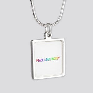 Peace Love Bobby Silver Square Necklace