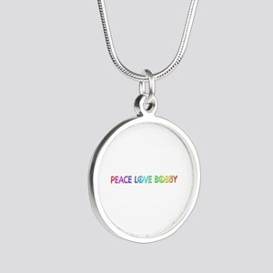 Peace Love Bobby Silver Round Necklace