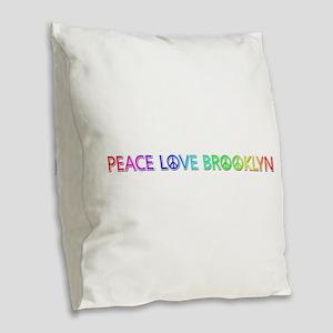 Peace Love Brooklyn Burlap Throw Pillow