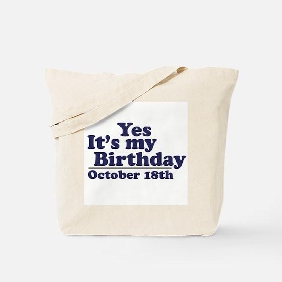 October 18th Birthday Tote Bag