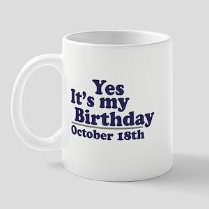 October 18th Birthday Mug
