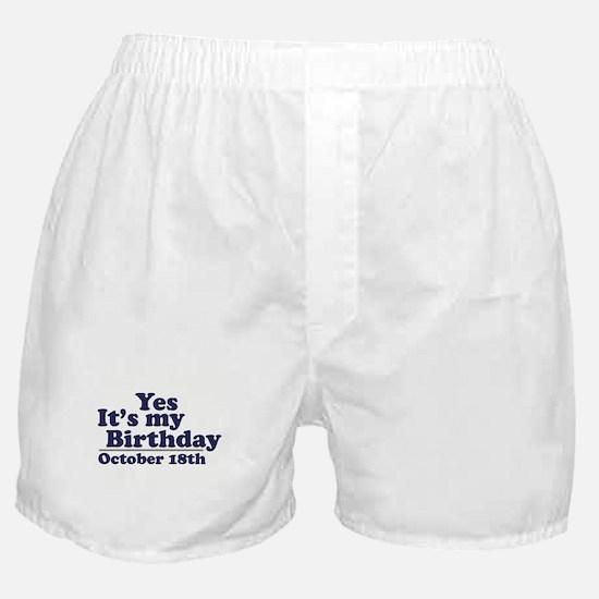 October 18th Birthday Boxer Shorts