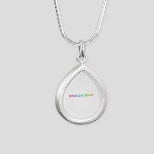 Peace Love Bobby Silver Teardrop Necklace