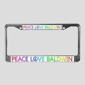 Peace Love Baldwin License Plate Frame