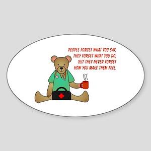Teddy Bear Caring Oval Sticker