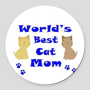 World's Best Cat Mom Round Car Magnet