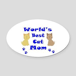 World's Best Cat Mom Oval Car Magnet