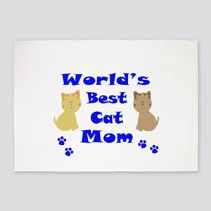 World's Best Cat Mom 5'x7'Area Rug