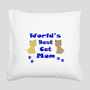 World's Best Cat Mom Square Canvas Pillow
