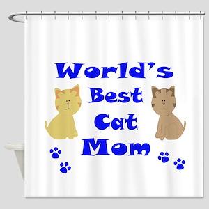 Worlds Best Cat Mom Shower Curtain