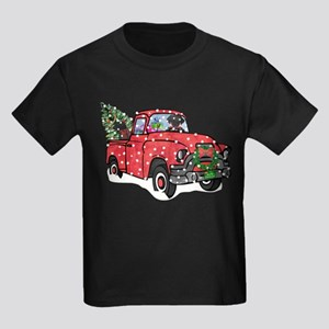 Black Lab Christmas Red Truck T-Shirt