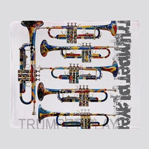 Trumpet Player Art Design by Juleez Throw Blanket