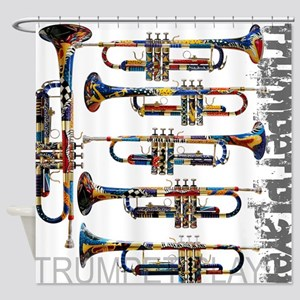 Trumpet Player Art Design by Juleez Shower Curtain