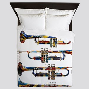 Trumpet Player Art Design by Juleez Queen Duvet