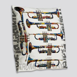 Trumpet Player Art Design by Juleez Burlap Throw P